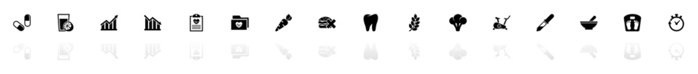 Healthy Lifestyle icons - Black horizontal Illustration symbol on White Background with a mirror Shadow reflection. Flat Vector Icon.