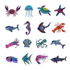 Collection of marine animals.