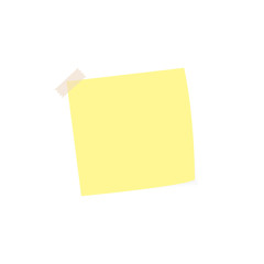 Clear list of color paper with sticky tape on a white background