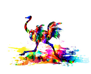 Ostrich running. Digital painting. Vector illustration
