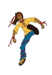 illustration eines Jungen beim Kampfsport