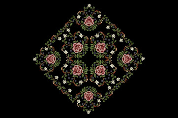 Pattern framework of bouquets with flowers for embroidery on black background