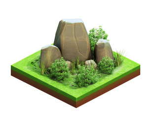Isometry. Large natural stones.