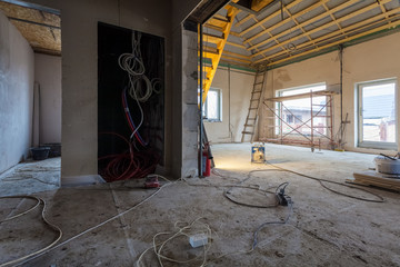 Electric wires and materials,  for repairs and tools for remodeling  interior of house (apartment) that is under remodeling, renovation, extension, restoration, reconstruction and construction