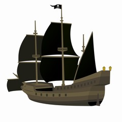 illustration of a pirate ship, vector drawing
