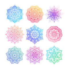 Set of round gradient mandala on white isolated background. Vector hipster mandala in green, red, blue, violet and pink colors. Mandala with floral patterns. Yoga template.