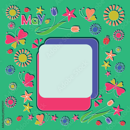 8222e149fa5ea9 Spring frame. Painting for children. Design for the calendar, planning,  schedule, mode of the day. Flat style.
