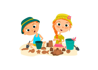 The children are playing in sandcastle on the beach . Brother and sister building a sand castle
