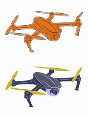 illustration of a drone flying, vector draw