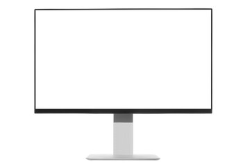 Computer display with blank white screen. Front view.
