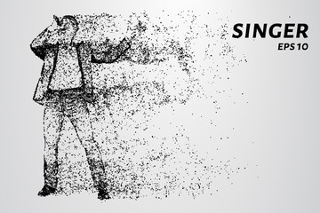 The singer sings into the microphone. The singer is made up of particles.