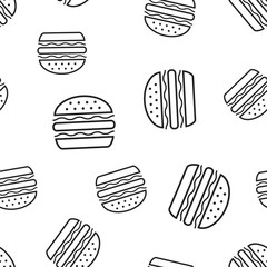Burger fast food seamless pattern background. Business concept vector illustration. Hamburger symbol pattern.