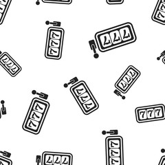 Casino slot machine seamless pattern background. Business concept vector illustration. 777 jackpot symbol pattern.