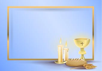 First communion religious invitation card