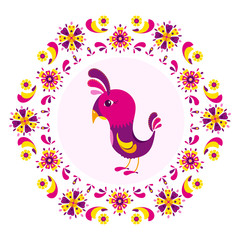 Element for design. Cartoon bird surrounded by a colorful pattern of flowers. Vector illustration