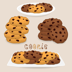 Vector icon illustration logo for pile homemade cookies