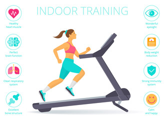 Beautiful caucasian woman is running on the treadmill. Flat vector illustration of athletic young girl in the sportswear doing exercise on the treadmill. Indoor training concept isolated on white.