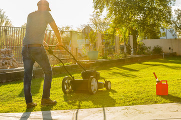 Man mowing  green lawn with push mower at mid-day with sun glowing in background.