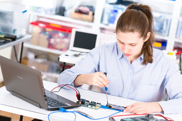 The girl in the lab with the hard drive HDD