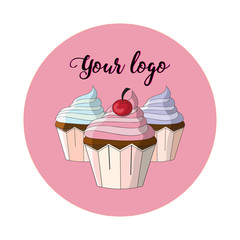 Logo. Vector image of colored cupcakes on a pink background