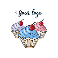 Logo. Vector image of colored cupcakes
