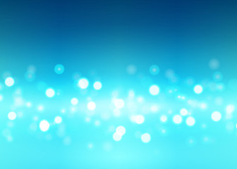 Abstract bokeh lights on the blue background, vector illustration