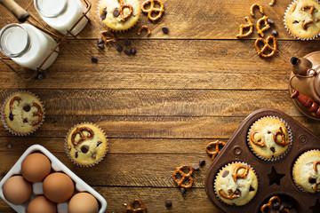 Chocolate chip and pretzel muffins