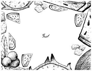 Hand Drawn Frame of Fresh Fruits on White Background