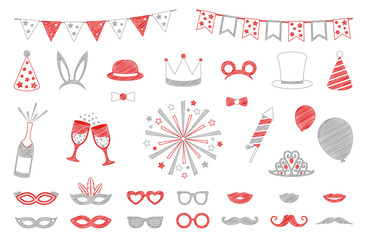 Hand drawn party and carnival icons - big set. Vector.