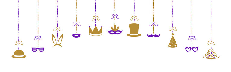 Panoramic header with hanging party elements and funny masks. Carnival, photo booth and birthday party. Vector.