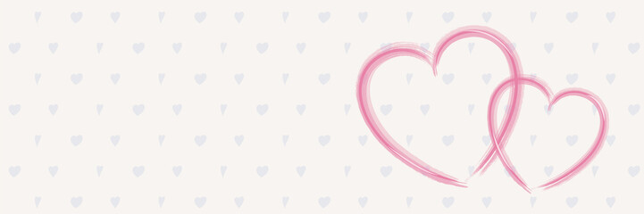 Banner with hand drawn hearts. Layout for Valentine's Day, Mother's Day and Women's Day. Vector.