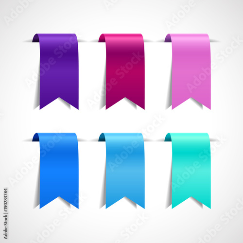 Set of colored decorative ribbons, labels, flags or