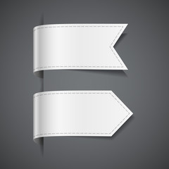 Set of white decorative ribbons, labels, flags, tags or bookmarks, vector illustration