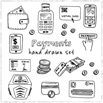 Hand drawn doodle payments set.