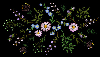 Embroidery trend floral pattern small branches herb daisy with little blue violet flower. Ornate traditional folk fashion patch design neckline blossom on black background vector illustration