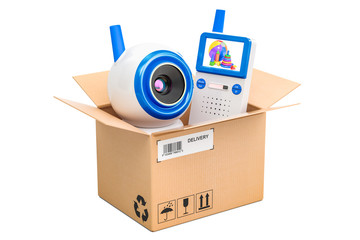 Baby cam and audio baby monitor  inside parcel, delivery concept. 3D rendering