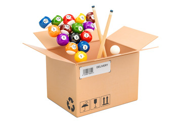 Billiard balls with cue inside parcel. 3D rendering