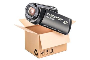 Delivery concept, camcorder inside parcel. 3D rendering