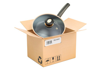 Frypan inside parcel, delivery concept. 3D rendering