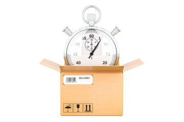 Fast delivery concept, stopwatch inside parcel, 3D rendering