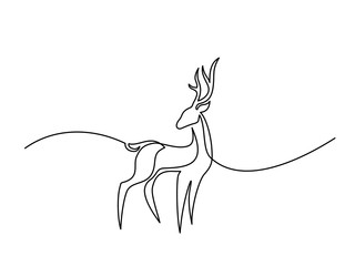 Continuous line drawing. Deer logo. Vector illustration
