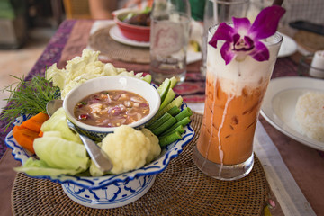 Shrimp tartar and vegetables. Local thai cuisine.
