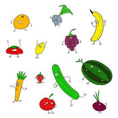 Eğlenceli meyve ve sebze çizimleri
