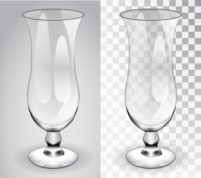 Cocktail glass. Transparent glass isolated object on a transparent and gray background