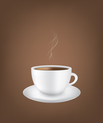 Coffee cup with smoke on dark background, vector