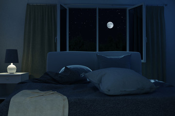 Schlafzimmer mit ungemachten Bett in der Nacht bei Mondscheinlicht