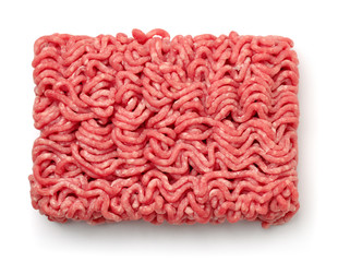 Poster Vlees Top view of raw minced beef meat