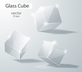 Set of transparent glass cubes in different angles. Geometric surfac. Rotate the cube. Vector illustration.