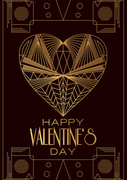 Modern card  Valentines Day.Vector image in classic art deco ret