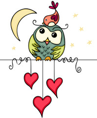 Cute bird and owl in love night landscape